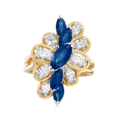 C. 1980 Vintage Oscar Heyman 2.20 ct. t.w. Sapphire and 2.00 ct. t.w. Diamond Ring in Platinum and 18kt Yellow Gold