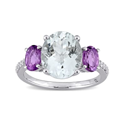 3.00 Carat Aquamarine and .80 ct. t.w. Amethyst Ring with Diamond Accents in Sterling Silver