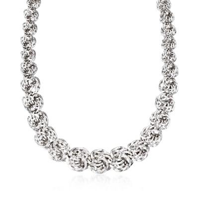 Sterling Silver Rosette-Link Necklace