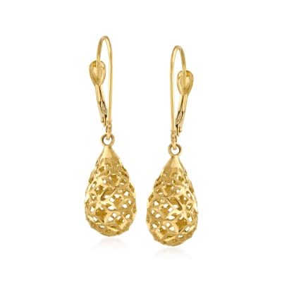 14kt Yellow Gold Openwork Teardrop Earrings