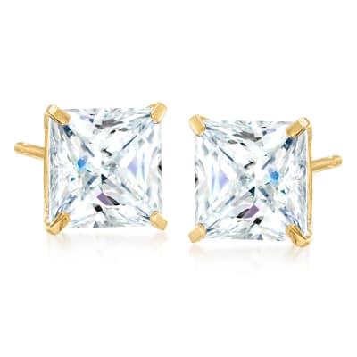 5.00 ct. t.w. Princess-Cut CZ Earrings in 14kt Yellow Gold