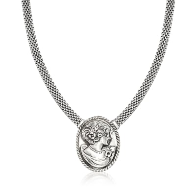 Italian Sterling Silver Cameo-Style Mesh Necklace