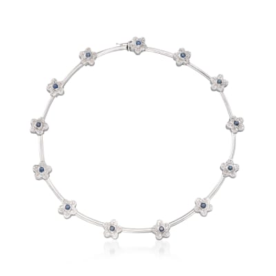 C. 1990 Vintage 2.00 ct. t.w. Sapphire and 2.00 ct. t.w. Diamond Floral Necklace in 18kt White Gold