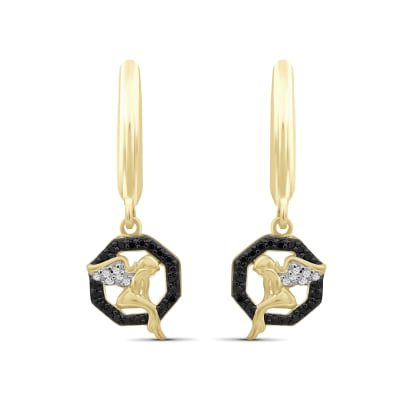 .12 ct. t.w. Black and White Diamond Angel Drop Earrings in 18kt Yellow Gold Over Sterling Silver
