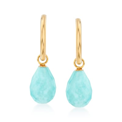 Turquoise J-Hoop Drop Earrings in 14kt Yellow Gold