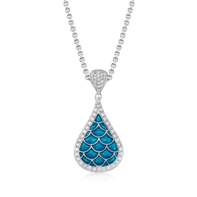 "Belle Etoile ""Marina"" Sea-Blue Enamel and 1.00 ct. t.w. CZ Pendant in Sterling Silver"