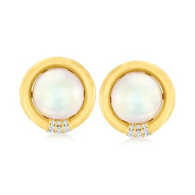 C. 1980 Vintage Cultured Mabe Pearl and .60 ct. t.w. Diamond Earrings in 18kt Yellow Gold