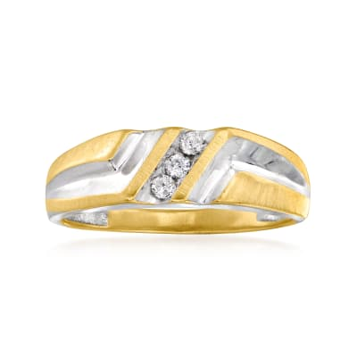 C. 1980 Vintage .10 ct. t.w. Diamond Ring in 14kt Two-Tone Gold