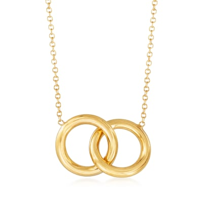 Italian 14kt Yellow Gold Interlocking Circle Necklace