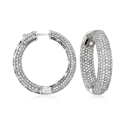 9.45 ct. t.w. Pave Diamond Inside-Outside Hoop Earrings in 14kt White Gold