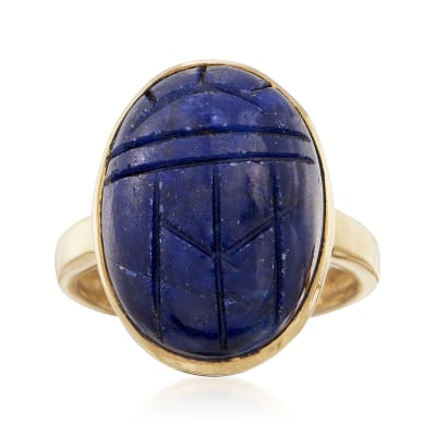 16.00 Carat Sapphire Scarab Ring in 18kt Yellow Gold Over Sterling