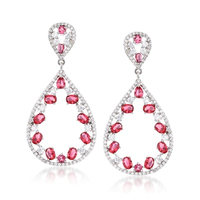 Simulated Ruby and 2.00 ct. t.w. CZ Open Drop Earrings in Sterling Silver