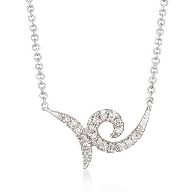 Gabriel Designs .10 ct. t.w. Diamond Swirl Necklace in 14kt White Gold