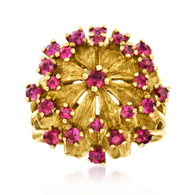 C. 1970 Vintage 2.75 ct. t.w. Ruby Cluster Ring in 14kt Yellow Gold