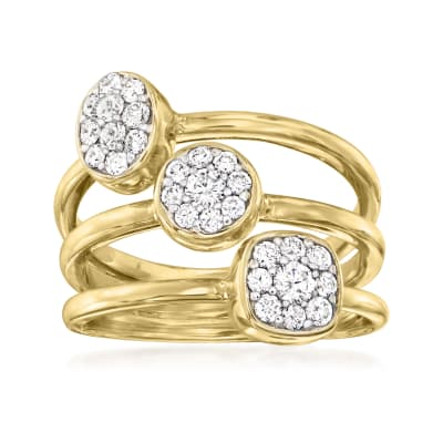 .57 ct. t.w. Diamond Cluster Stacked Ring in 14kt Yellow Gold