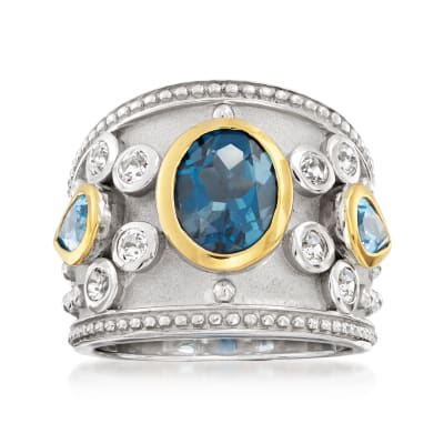 3.70 ct. t.w. London Blue, Swiss Blue and White Topaz Ring in Sterling Silver with 14kt Yellow Gold