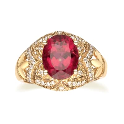 2.80 Carat Red Tourmaline and .20 ct. t.w. Diamond Ring in 14kt Yellow Gold
