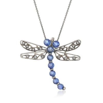 C. 1990 Vintage 5.23 ct. t.w. Sapphire and .23 ct. t.w. Diamond Dragonfly Pin/Pendant Necklace in 18kt White Gold