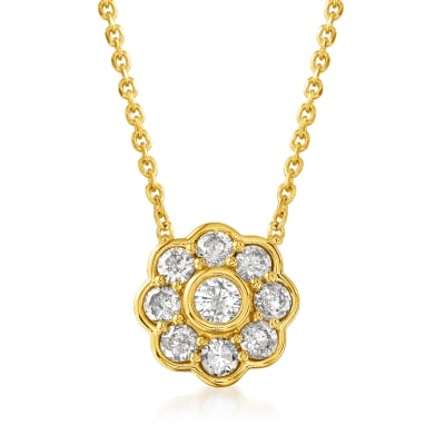 .50 ct. t.w. Diamond Flower Necklace in 18kt Gold Over Sterling