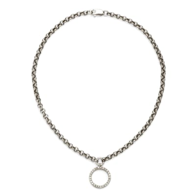 .11 ct. t.w. Diamond Circle Charm Anklet in 14kt White Gold