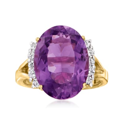 C. 1990 Vintage 11.00 Carat Amethyst and .45 ct. t.w. Diamond Ring in 14kt Yellow Gold
