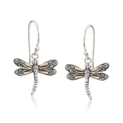 Two-Tone Sterling Silver Bali-Style Dragonfly Drop Earrings