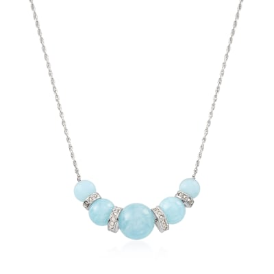 16.75 ct. t.w. Graduated Aquamarine Bead and .37 ct. t.w. Diamond Spacer Necklace in Sterling Silver