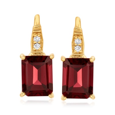5.70 ct. t.w. Garnet and .10 ct. t.w. White Topaz Earrings in 18kt Gold Over Sterling