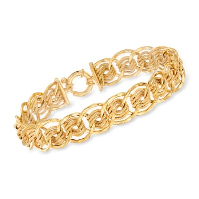 Italian 14kt Yellow Gold Multi-Circle Link Bracelet