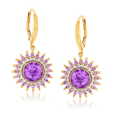 4.00 ct. t.w. Amethyst and .50 ct. t.w. Diamond Sun Drop Earrings in 18kt Gold Over Sterling
