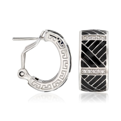 "Belle Etoile ""Laguna"" Black Enamel and .20 ct. t.w. CZ Hoop Earrings in Sterling"