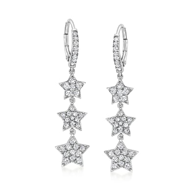 1.30 ct. t.w. CZ Triple-Star Drop Earrings in Sterling Silver