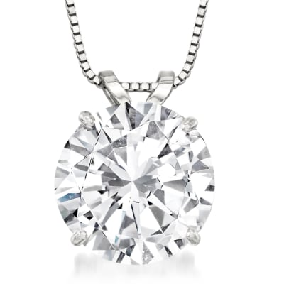 4.00 Carat CZ Solitaire Necklace in 14kt White Gold
