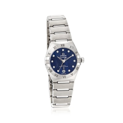 Omega Constellation Women's 29mm Automatic Stainless Steel Watch with Diamonds and Blue Dial