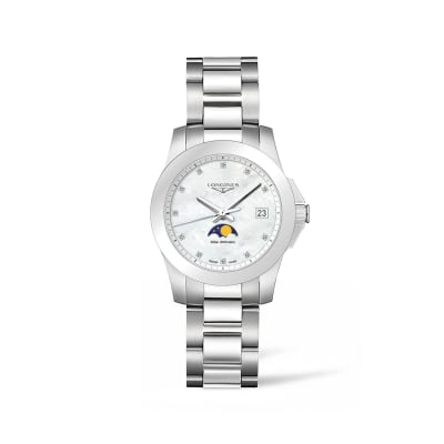 Longines Conquest Women's 34mm Moon Phase Stainless Steel Watch with Diamond Accents