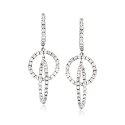 1.30 ct. t.w. Diamond Interlocking Circle Hoop Drop Earrings in 14kt White Gold