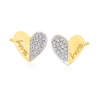 """.25 ct. t.w. Diamond Heart """"Love"""" Stud Earrings in 18kt Gold Over Sterling"""