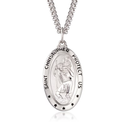Men's Sterling Silver Saint Christopher Oval Medal with Stainless Steel Chain