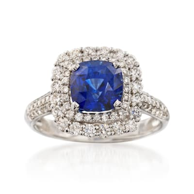 C. 2000 Vintage 2.73 Carat Sapphire and .89 ct. t.w. Diamond Ring in 18kt White Gold