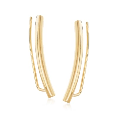 Italian 14kt Yellow Gold Bar Ear Climbers