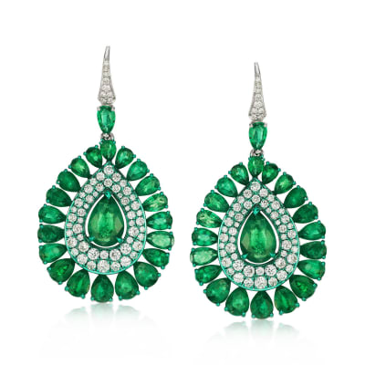 12.76 ct. t.w. Emerald and 2.10 ct. t.w. Diamond Drop Earrings in 18kt White Gold