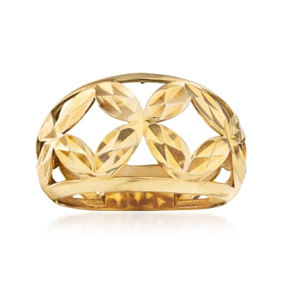 14kt Yellow Gold Floral Openwork Dome Ring