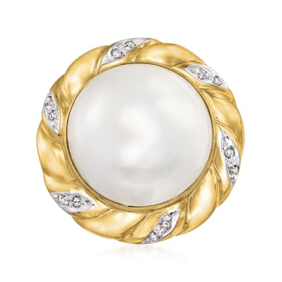 C. 1980 Vintage 15mm Mabe Pearl Ring with Diamond Accents in 14kt Yellow Gold
