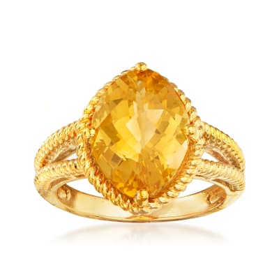 4.90 Carat Citrine Ring in 18kt Gold Over Sterling