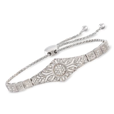 .50 ct. t.w. Diamond Floral Openwork Bolo Bracelet in Sterling Silver