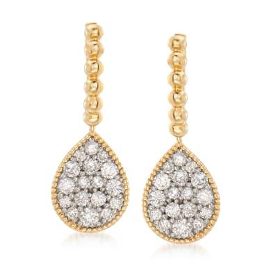1.00 ct. t.w. Diamond Cluster Drop Earrings in 14kt Yellow Gold