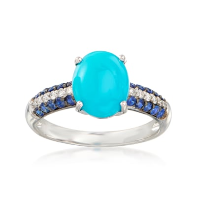 Turquoise, .30 ct. t.w. Sapphire and .10 ct. t.w. Diamond Ring in 14kt White Gold