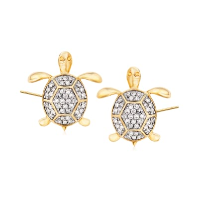 .15 ct. t.w. Diamond Turtle Stud Earrings in 14kt Yellow Gold