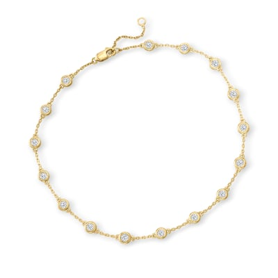 1.25 ct. t.w. Diamond Station Anklet in 18kt Gold Over Sterling