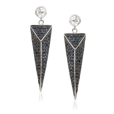 4.55 ct. t.w. Black Spinel and 1.20 ct. t.w. White Topaz Geometric Earrings in Sterling Silver